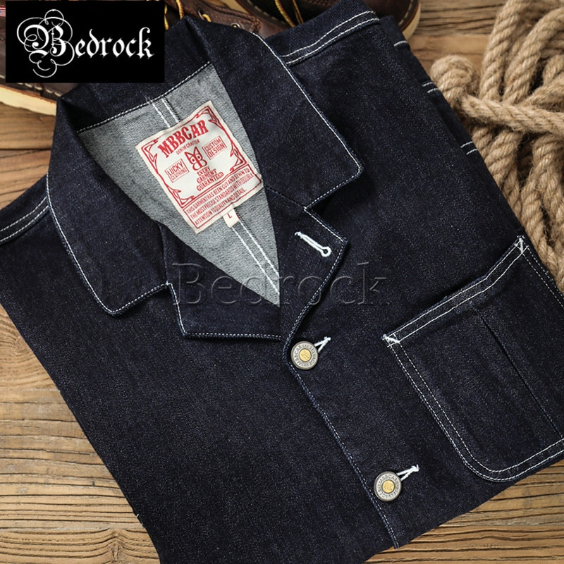 Mbbcar 11.8oz micro-elastic soft red ear denim antique fabric denim jacket retro gentleman casual denim suit jacket men 3028