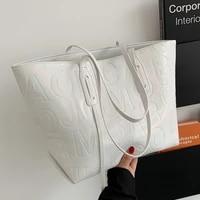 large capacity tote bag women pu leather shoulder bag luxury handbags designer casual totes letter printed big shopper bag white