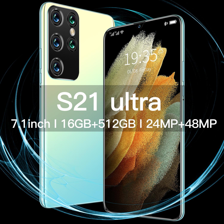 Hot Sale S21 Ultra 16GB RAM 512GB ROM Dual SIM+Micro SD Face Unlock 5G LTE Bands 6800mAh 10 Core 7.1 Inch Smart Phone MTK6595