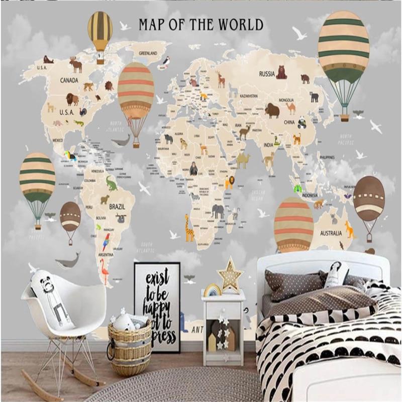Nach Größe Kinderzimmer Wand Papier 3D Cartoon Welt Karte Hintergrund Wand Papers Home Decor 3D Wandbild Tapete für kinder Zimmer