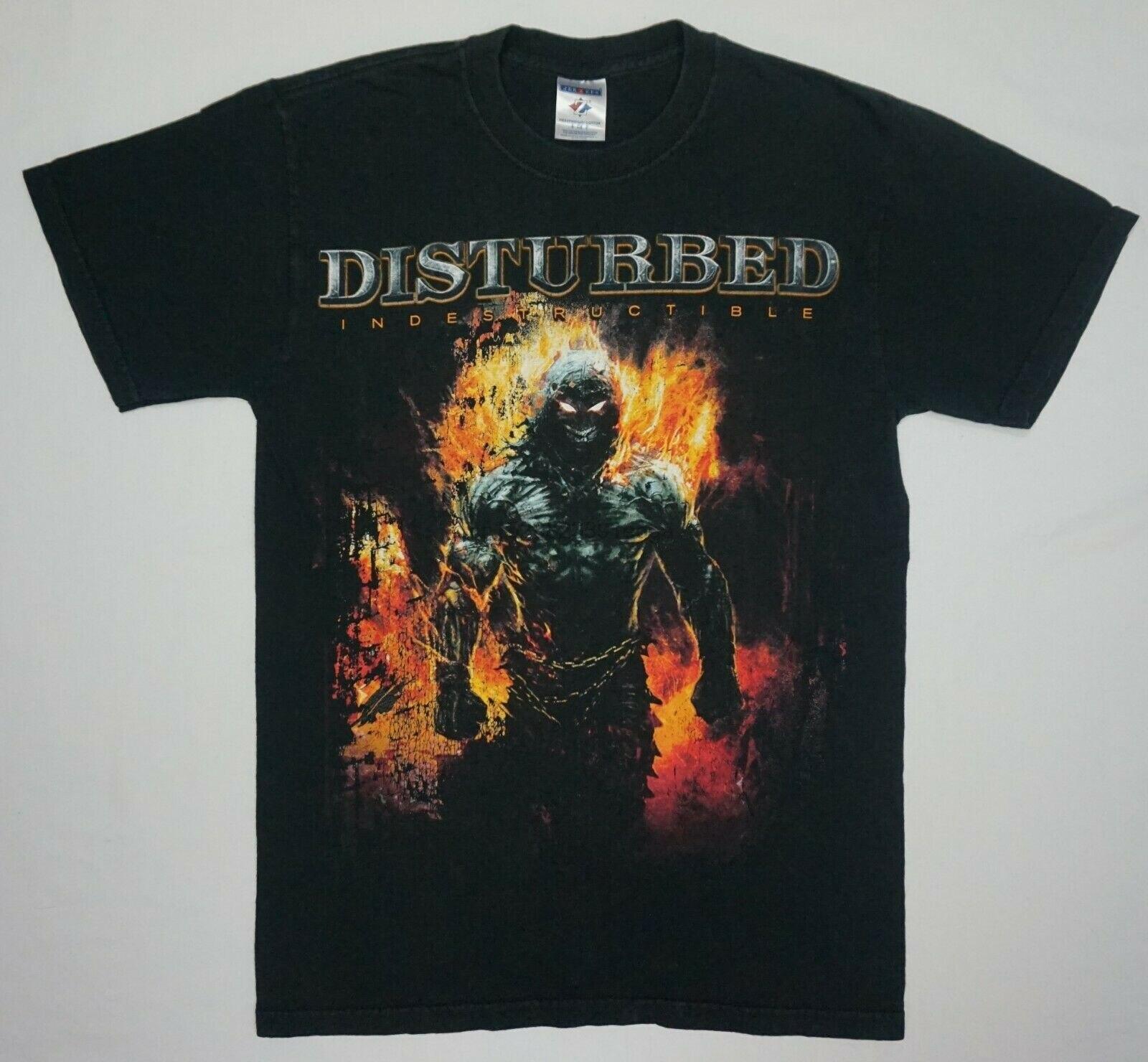 2008 turnê indestrutível perturbado t camisa tamanho s vtg heavy metal hard rock band 4102m