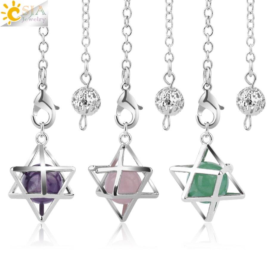 CSJA Reiki Piedra Natural Merkaba péndulo para Wicca somnolencia hexagrama Pendule redondo cuentas de cristal y cuarzo colgantes joyería F975