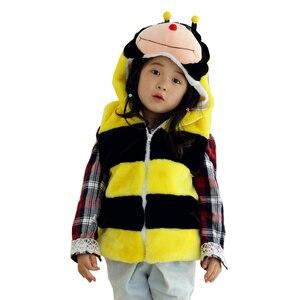 DOUBCHOW Cute Clothing Animal Honeybee Vest Children's Cartoon Winter Hooded Kids Boys Girls Cosplay Plush Fleece Outwear Coat