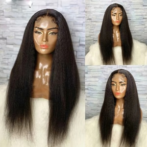 Kinky Straight Black Women's Wigs Synthetic Lace front Wig Heat Resistant Fiber Wigs For  American Hair Front Yaki Straight Wigs