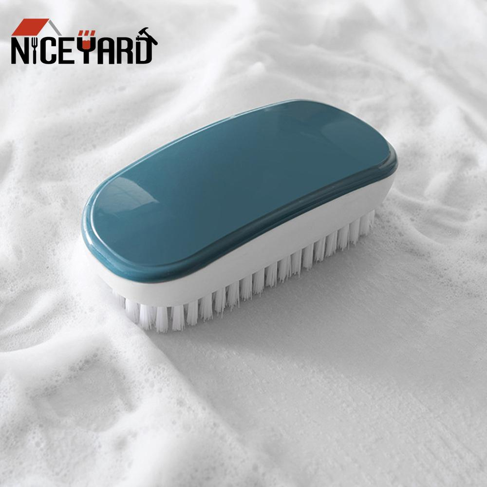 Hard Bristle Household Hands Laundry Brush Plastic Washing Clothes Shoe Sock Cleaning Brush For Kitchen Bathroom Cleaning Tool multi use silicone laundry washing brush small size handheld washing board brush for clothes candy color shirts cleaning tool