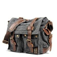 canvas leather postage bag Single Shoulder Bag Satchel Bag,  military travel female student, boy, gi