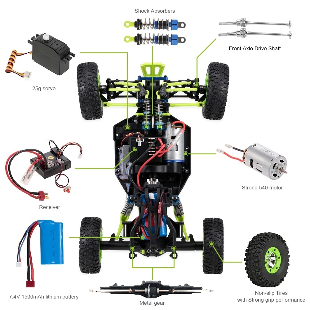 WLtoys 12428 RC Car 4WD 1/12 2.4G 50KM/H High-Speed Monster Vehicle Remote Control   Buggy enlarge