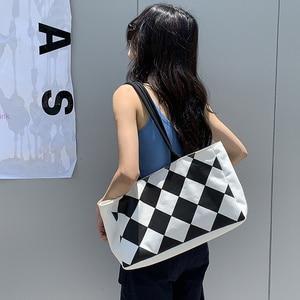Simple Fashion Large-capacity Handbag For Ladies Vintage Diamond Lattice Tote For Female Girls Travel Shopping Bag Korean Style