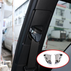 Car Accessories Interior Seat Belt Decorative Protection Cover Trim For Toyota Tacoma 2017-2019 Plastic Bright Silver 2 Pcs