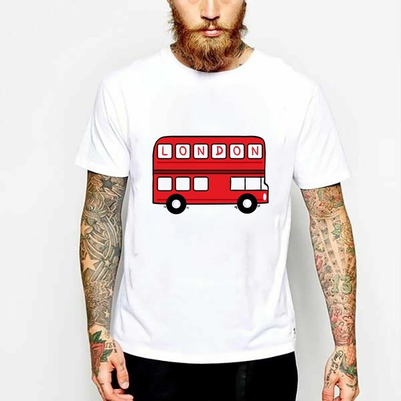 London Bus moda verano camiseta mujer manga corta Hombre impreso Casual camisetas marca camisetas hombres ropa