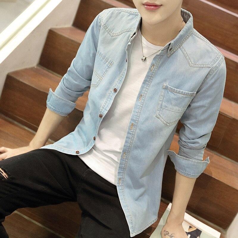 Мужская одежда, 2021 тонкая хлопковая джинсовая рубашка, мужская рубашка с длинными рукавами, молодежная приталенная рубашка, мужской Корейс...