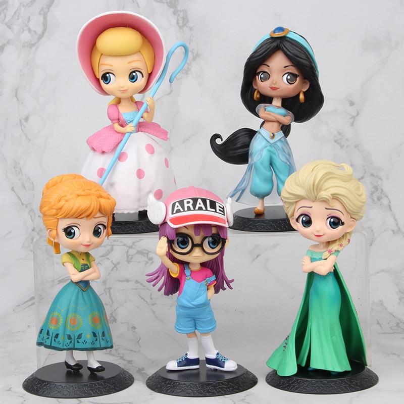 AliExpress - Disney Q Version Anime Figure Princess Frozen Anna Elsa Arale Jasmine Figures Model Toys Dolls PVC Creative Collection for Child