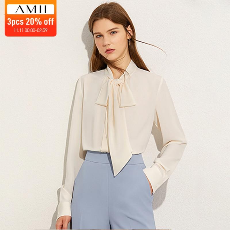 Amii minimalismo outono moda sólida arco pescoço camisa feminina topos causal manga cheia solta blusa feminina 12040334