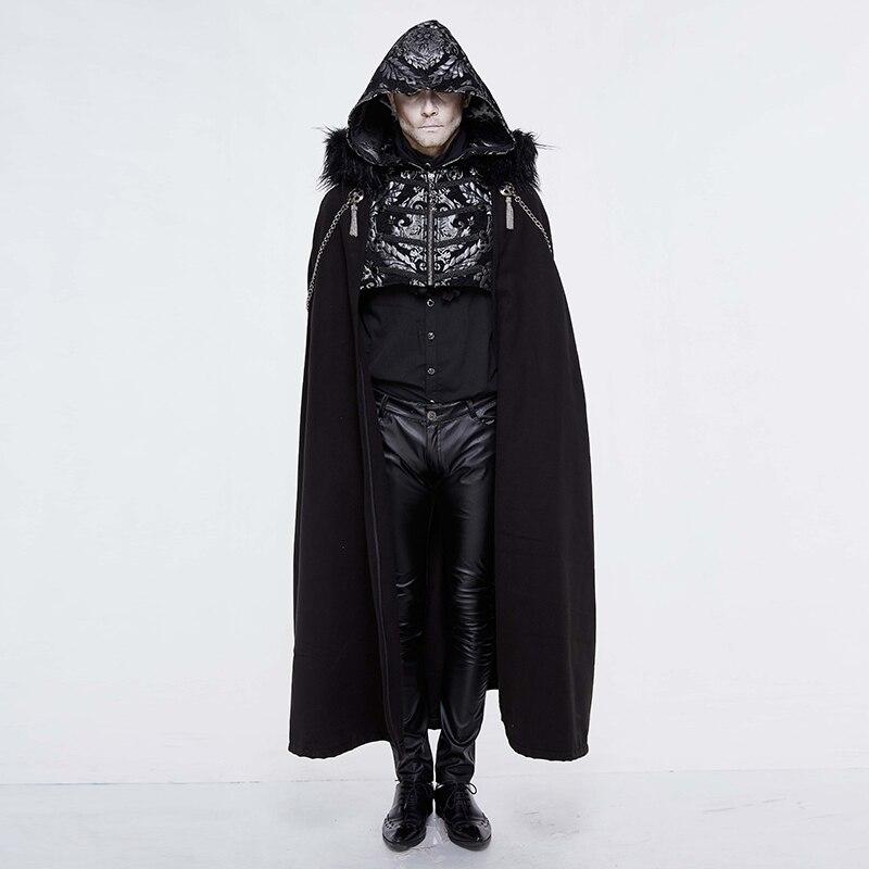 Devil Fashion Punk Long Trench Cloak Gothic Velvet Hooded Cloak Detachable Feather Shawl Halloween Loose Shawl