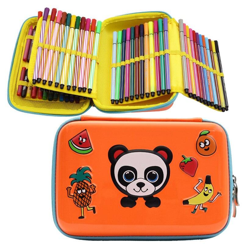 Caja de papelería Eva bolsa de pluma de Panda de dibujos animados para estudiantes de escuela primaria pluma de acuarela caja de papelería de gran capacidad bolsa de papelería