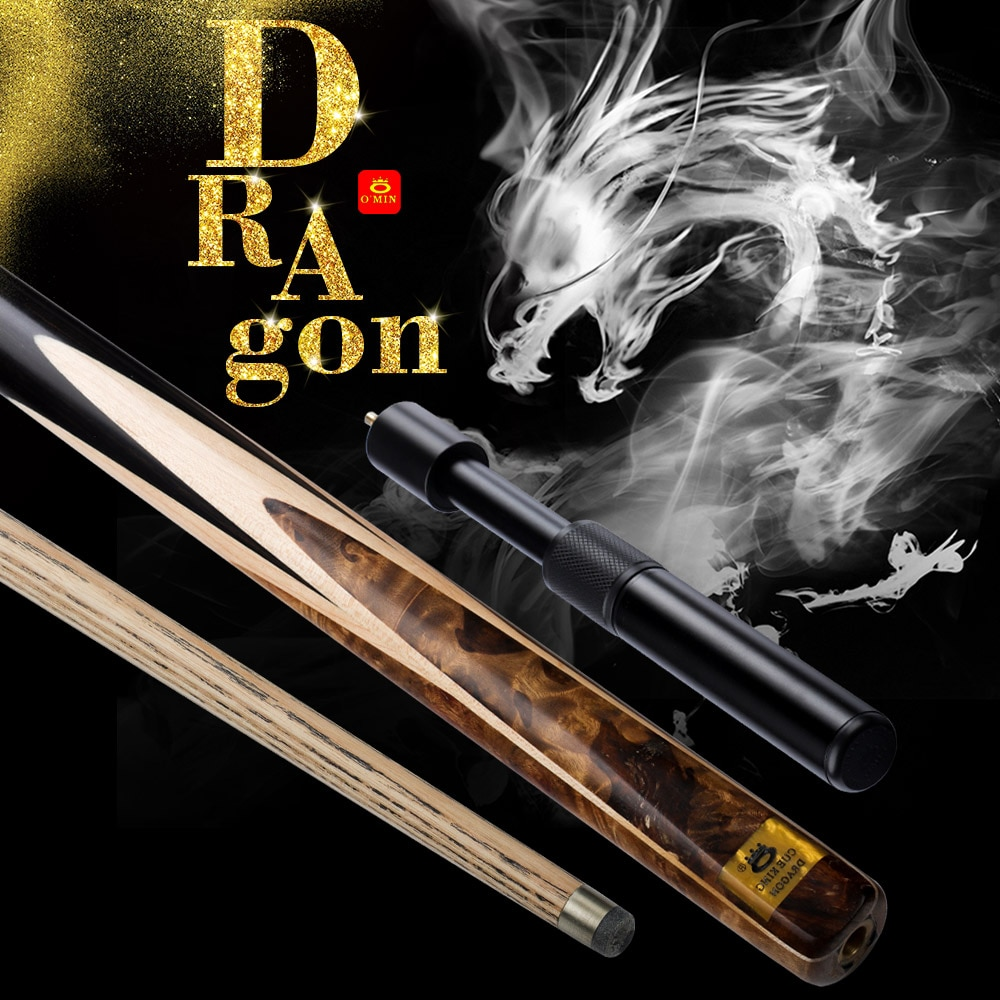 NEW O'MIN DRAGON Snooker Cue10mm Tip North American Ash shaft Stick with Case with Telescopic extension Billiards Kit Black 8