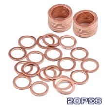 Junta de anillo plano de cobre sólido, accesorios de sello de aceite de tapón de sumidero, arandelas de 10x14x1MM, accesorios de Hardware, 20/50 Uds.