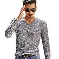 mens long sleeve spot graphic v neck slim fit t shirt 2021 one piece fashion casual top soft breathable mens clothing m 3xl