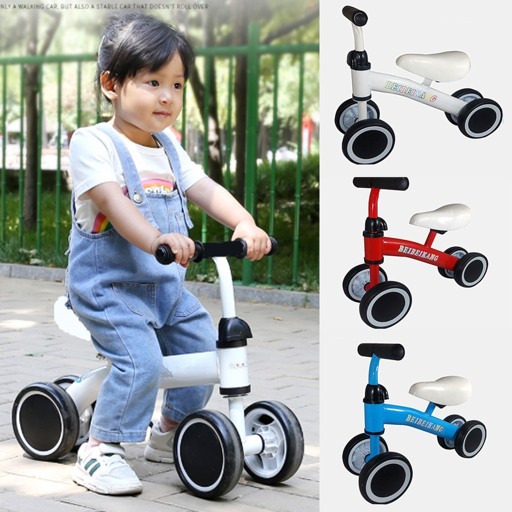 4 Wheels Children's Bicycle Balance Bike Walker Kids Ride On Toys Gift for 1-3 Years Old Children for Learning Walk Scooter infant shining two wheels balance bike 4 6 years old children walker 12 inch riding bicycle height adjustable kids scooter