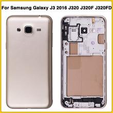 Carcasa completa J320 para Samsung Galaxy J3 DE 2016 J320 J320F J320FD tapa trasera de la batería cubierta trasera de la puerta + cubierta de medio marco
