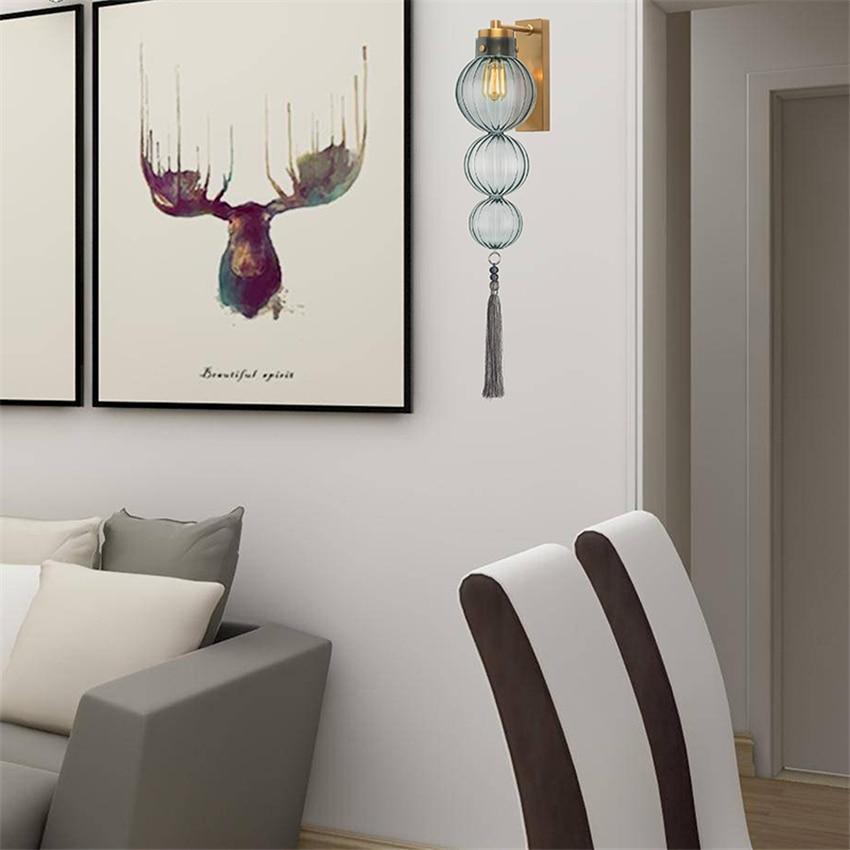 Luces colgantes de calabaza de cristal nórdicas modernas luces colgantes de sala de estar dormitorio luces de pared nuevas linternas chinas