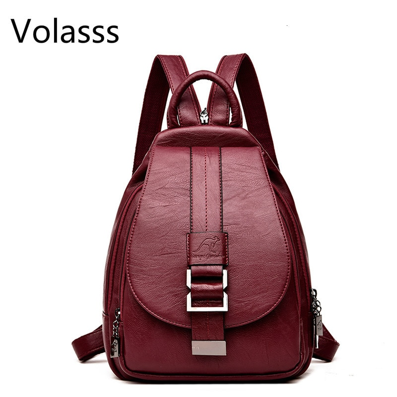 2020 Mochilas escolares de cuero para mujeres bolso de hombro femenino Vintage Sac A Dos bolsas de viaje para mujeres Mochilas para niñas Mochila
