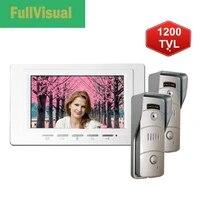 fullvisual 7 inch video door phone intercom system with 2 cameras wired doorbelll button metal waterproof front back door villa
