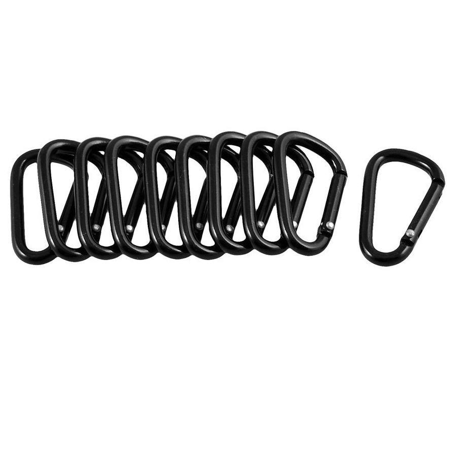 10 Pcs Black D Shaped Aluminum Alloy Carabiner Hook Keychain Climbing Equipment Karabiner  Camping Clip