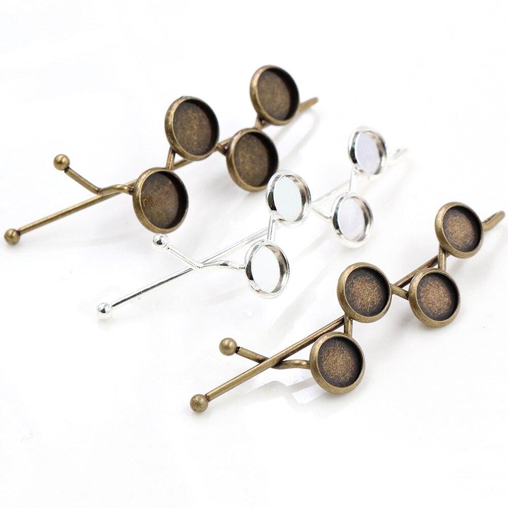 5 шт., 8 мм, 10 мм, высокое качество, четыре, 8 мм, 10 мм, Cameos, Посеребренная, бронзовая шпилька из латуни, заколки для волос, основа для закрепления, кабошон, камея