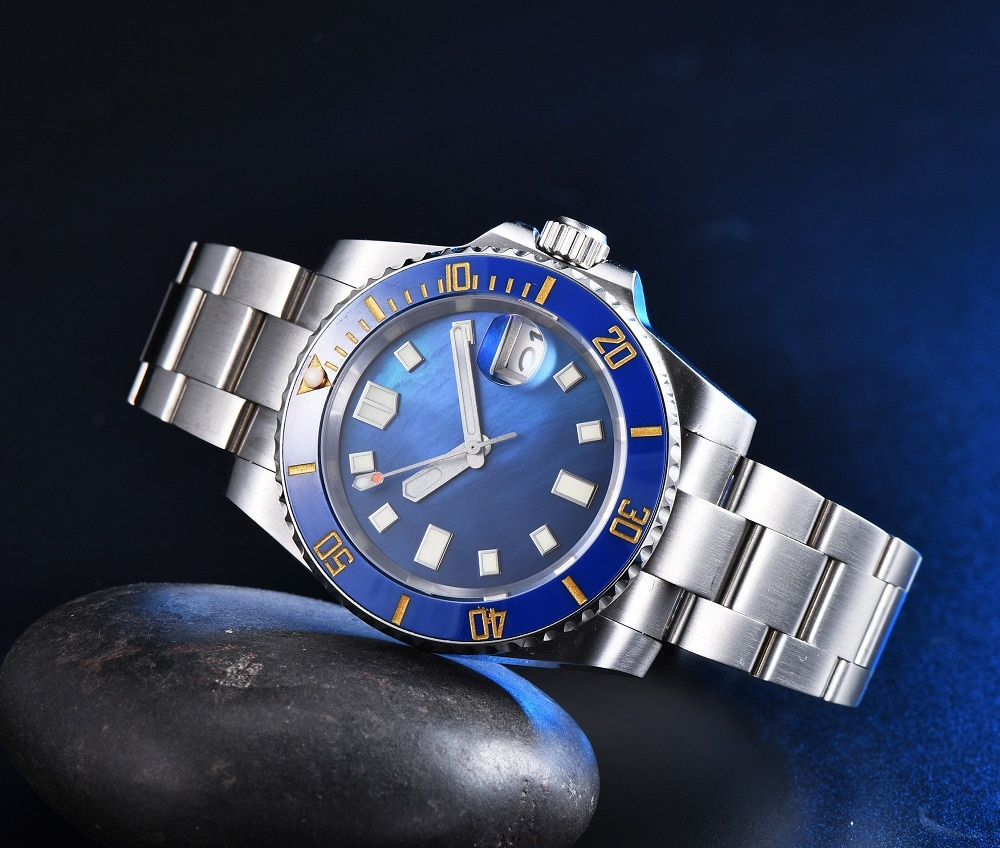 Sterile blue shell surface NH35A movement men's automatic mechanical watch stainless steel strap blue ceramic ring with C3 lumin