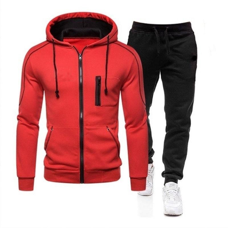 Мужские спортивные костюмы, куртки на молнии и спортивные штаны, Модный пуловер с капюшоном, комплекты из топа