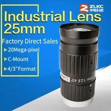 "Lage Vervorming Lens 25 Mm 4/3 ""150lp/Mm Fa C Mount Industriële Lenzen Machine Vision Mini Camera, lage Licht Manual Iris Cctv Lens"