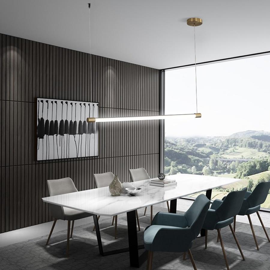 Modern Minimalist LED Pendant Lamp Hanging LED Linear Bar Light 90cm 120cm Office Lighting LED Tube Dining Room Pendant Lights