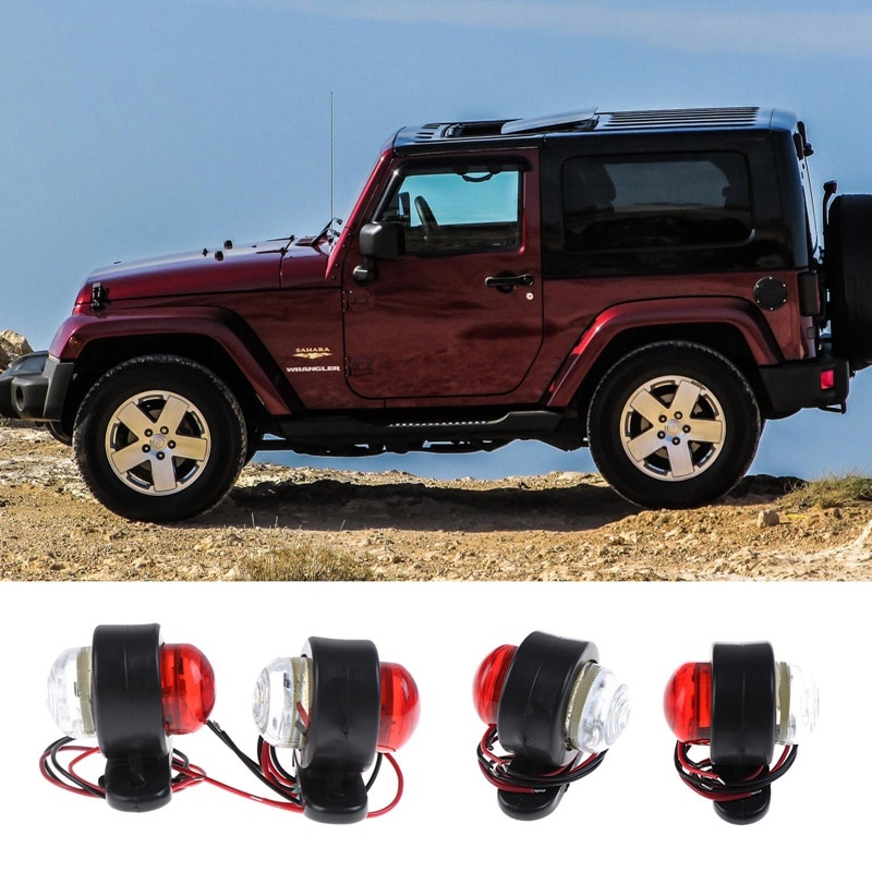2 шт. автомобильный прицеп светодиодный, боковой, габаритный фонарь белый красный указатель зазор сигнала световой индикатор лампы для груз...