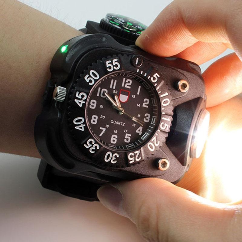 Reloj HiMISS 3 en 1 LED superbrillante, linterna resistente al agua, linterna, brújula para deportes al aire libre, reloj de pulsera recargable para hombre