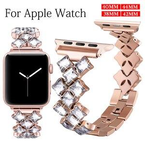 38mm 42mm 40mm 44mm Watch Band for Apple Watch Series 6 5 4 3 2 1 Stainless Steel Strap Apple Watch Women Diamond Bracelet Wrist