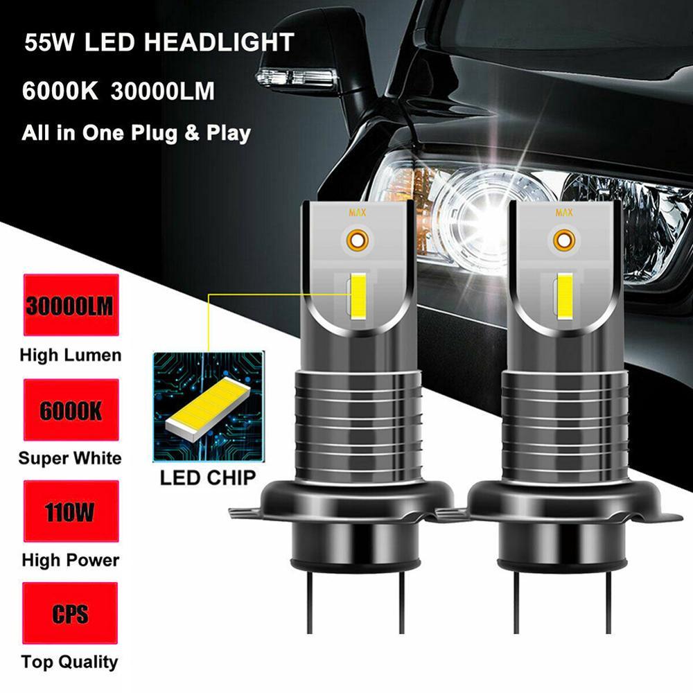 2 PCS H7 110W Car 5050 CSP LED Headlight Kit Canbus Error Free Lamp 30000 LM 6000K White Light 15000 LM Light Car Headlight Bulb honsco h7 24w 1800lm 5000k white light led high power car headlight kit dc12 18v 2 pcs