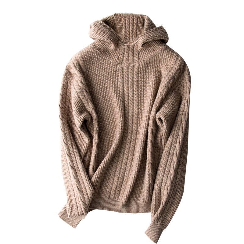 Poncho New Arrival 2020 Winter New Women Sweater Thick Cashmere Long-sleeved Cable Hooded Loose Wool Outer Computer Knitted enlarge