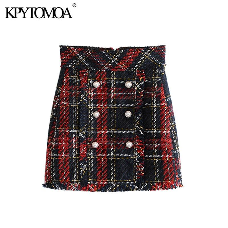 Vintage perla de imitación flecos Tweed Plaid Mini falda mujeres 2020 moda una línea de cremallera trasera flecos señoras Faldas Casual mujeres