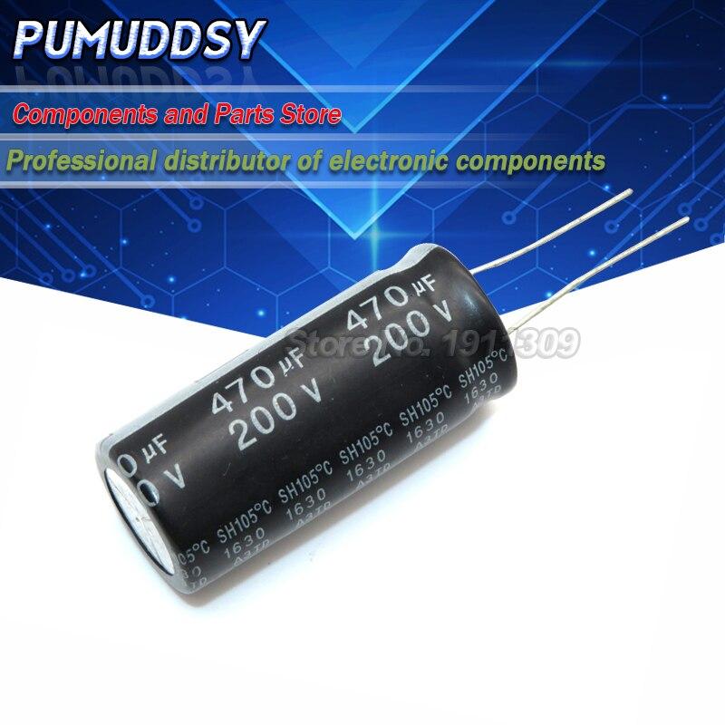 5 pces capacitor eletrolítico 200v 470uf 18*40 volume 470uf 200v 18x40mm 200v470uf novo