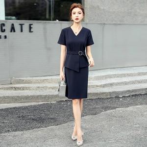 New Arrival 2020 Korean Style Womens Dresses Corset Patchwork Midi Bodycon Dress Ladies with Belt Navy Blue Plus Size Sundresses