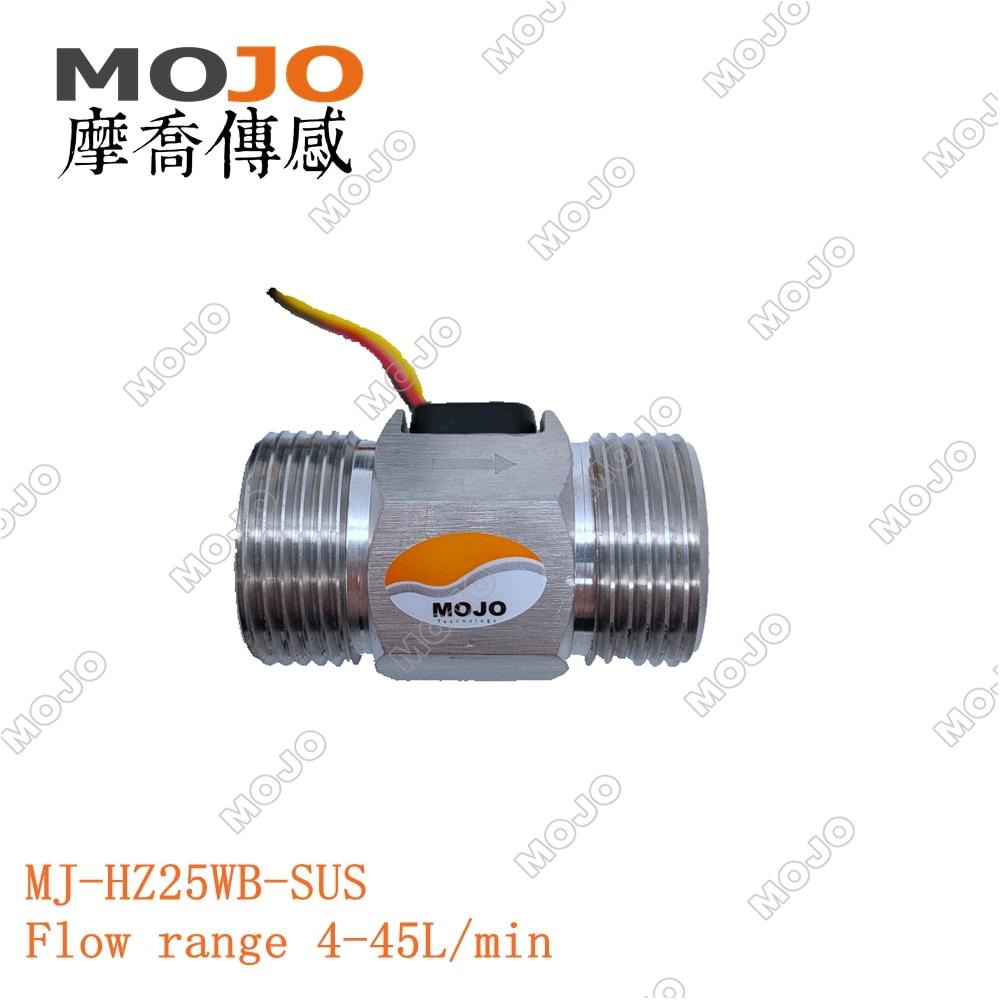 "MJ-HZ25WB-SUS g1 ""4-45l/min sus304 medidor de fluxo dn25 do interruptor do sensor do salão de fluxo da água para o medidor de fluxo industrial da turbina (5 unidades/lotes)"