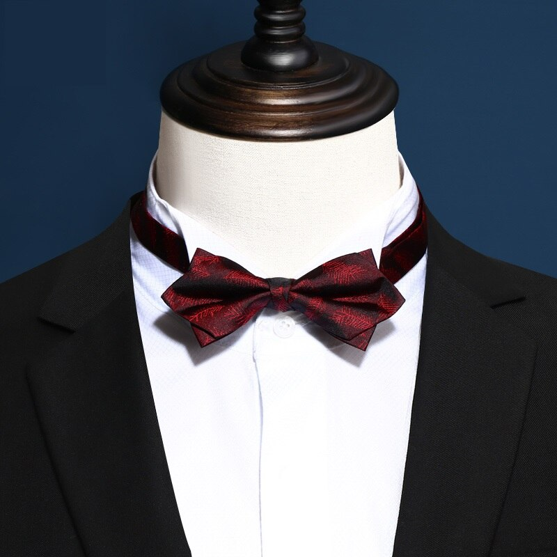 2020 a estrenar corbatas de lazo para hombre de doble tela con patrón de flores rojas oscuras corbata de lazo de seda para banquete, corbata de mariposa con caja de regalo
