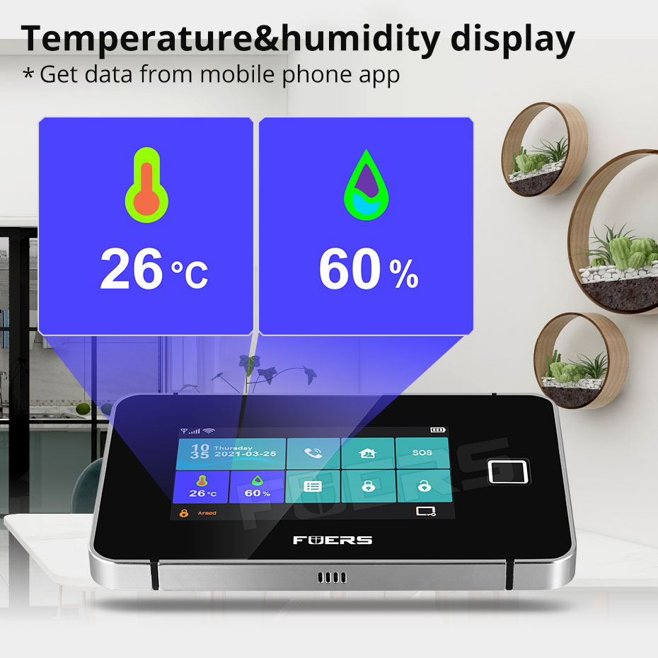 FUERS Security Alarm System Tuya WiFi GSM Smart Home Touch screen Temperature Humidity Display Fingerprint 433MHz Control Siren enlarge