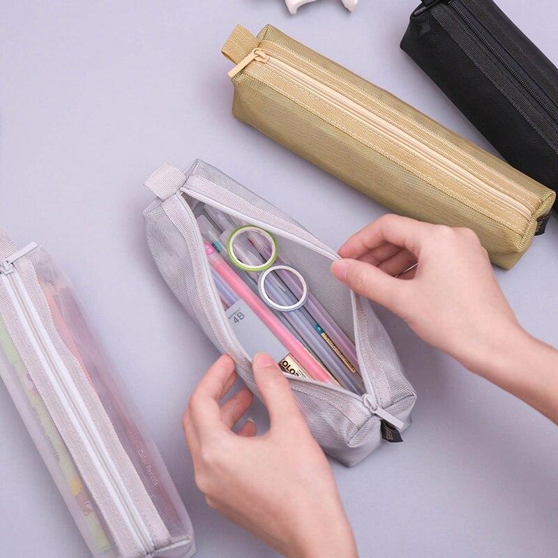 Прозрачный сетчатый чехол для карандашей, вместительная нейлоновая сумка для ручек, милая сумка для хранения карандашей, офисные и школьны...