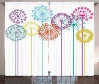 Floral Window Curtains Flower Inspired Artwork Colorful Dandelions on White Background Illustration Print Living Room Bedroom