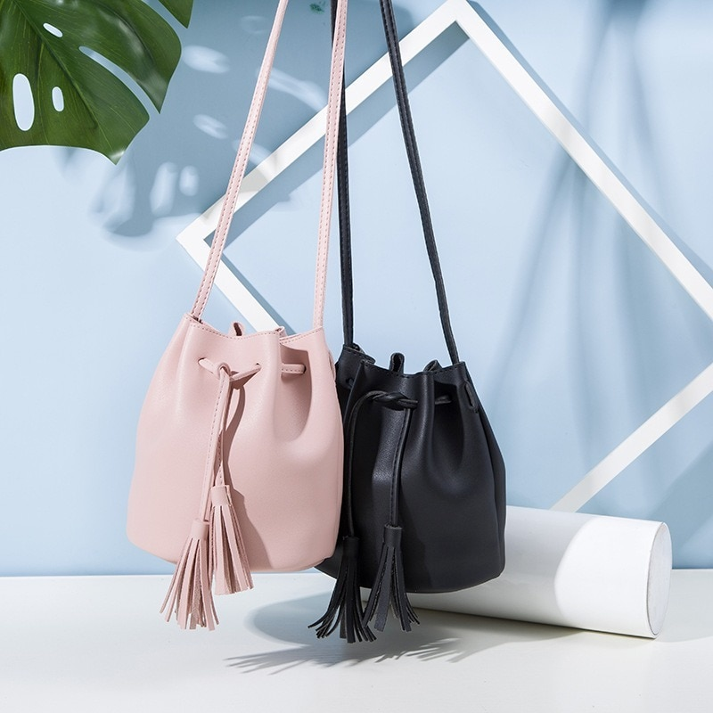 tassel floral braid tote bag Bucket Handbag for Women Freeshipping Single Shoulder Messenger Bag Retro Tassel Drawstring Bucket Bag  Tote Bags Purses