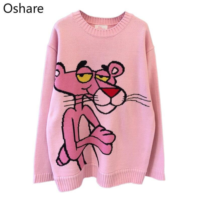 Nuevo 2020 primavera coreano nuevo suéter de dibujos animados de las mujeres suelta leopardo cuello redondo suelta Casual suéter tejido pulóver Tops