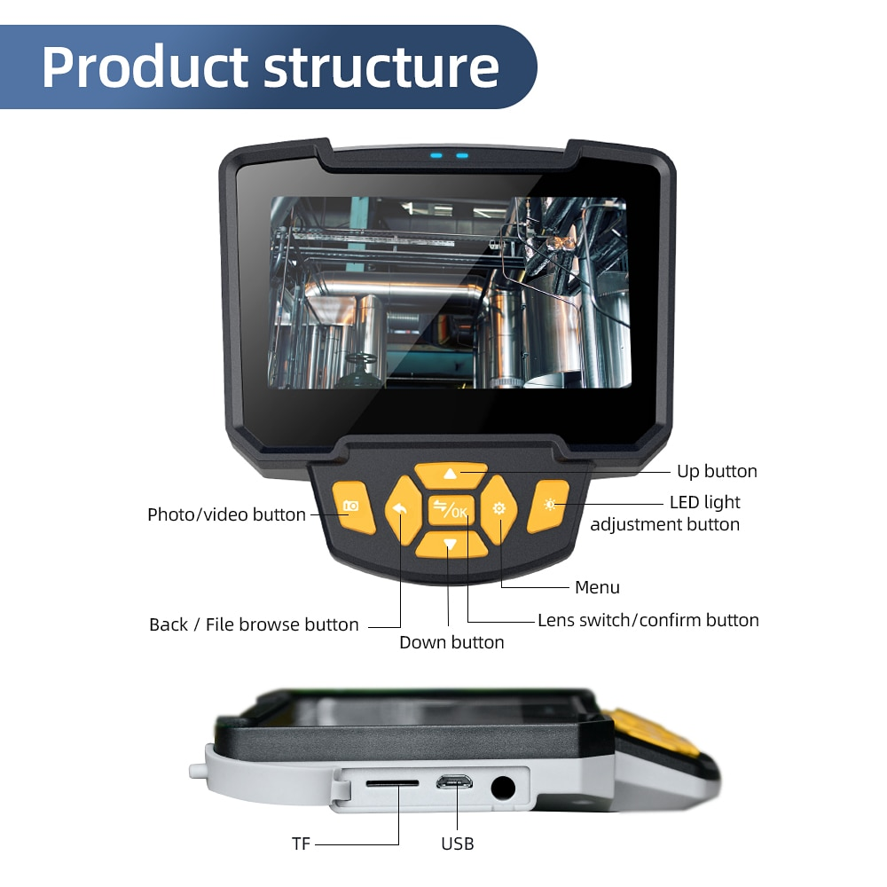 Digital Industrial Endoscope 4.3 inch LCD Camera Inspection Engine Drain Pipe IP67 Waterproof Camera Handheld Endoscope