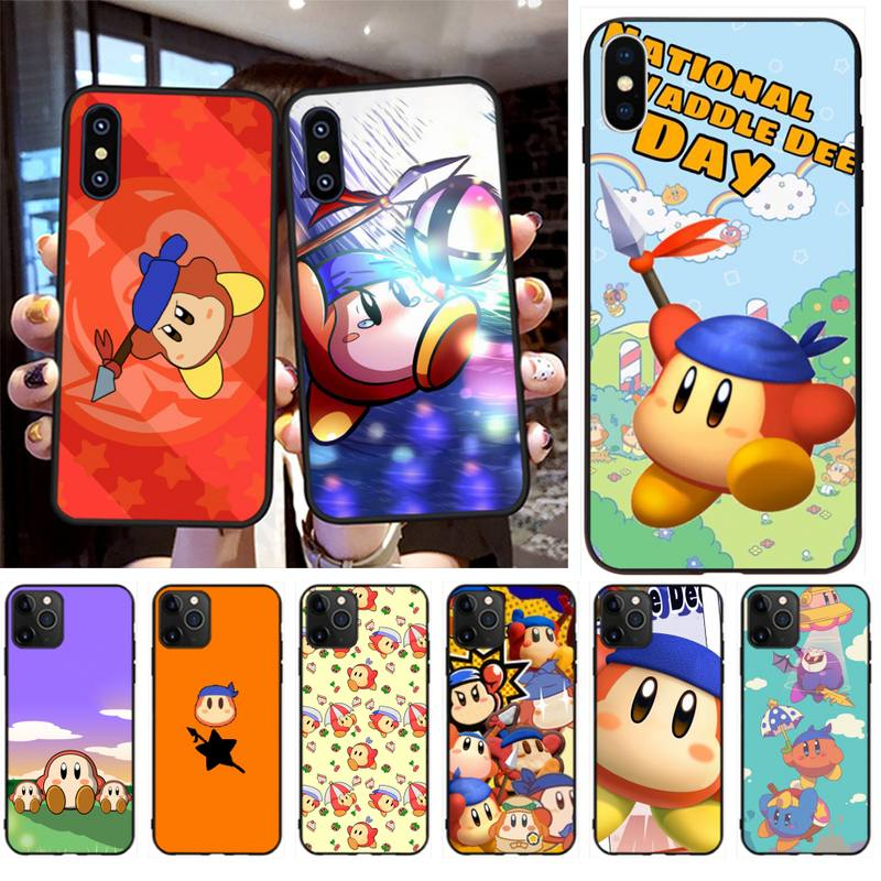 PENGHUWAN juego de Kirby Bandana Waddle Dee cubierta suave negro caja del teléfono Shell para iPhone 11 pro XS MAX 8 7 6 6S Plus X 5S SE XR caso